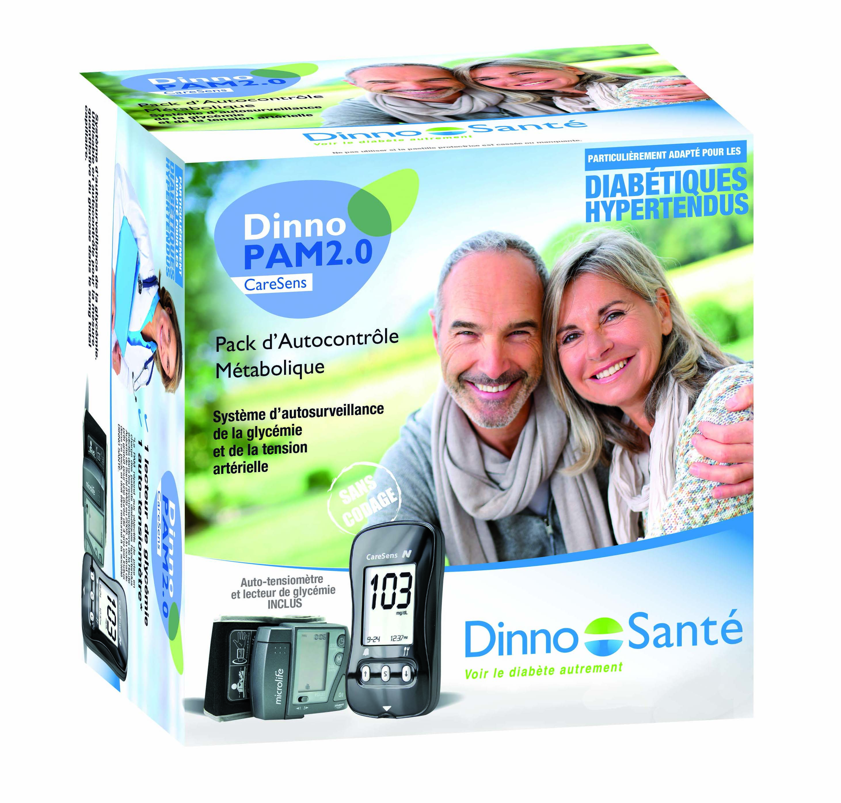 Image DINNO PAM2.0 CARESENS kit lecteur de glycémie