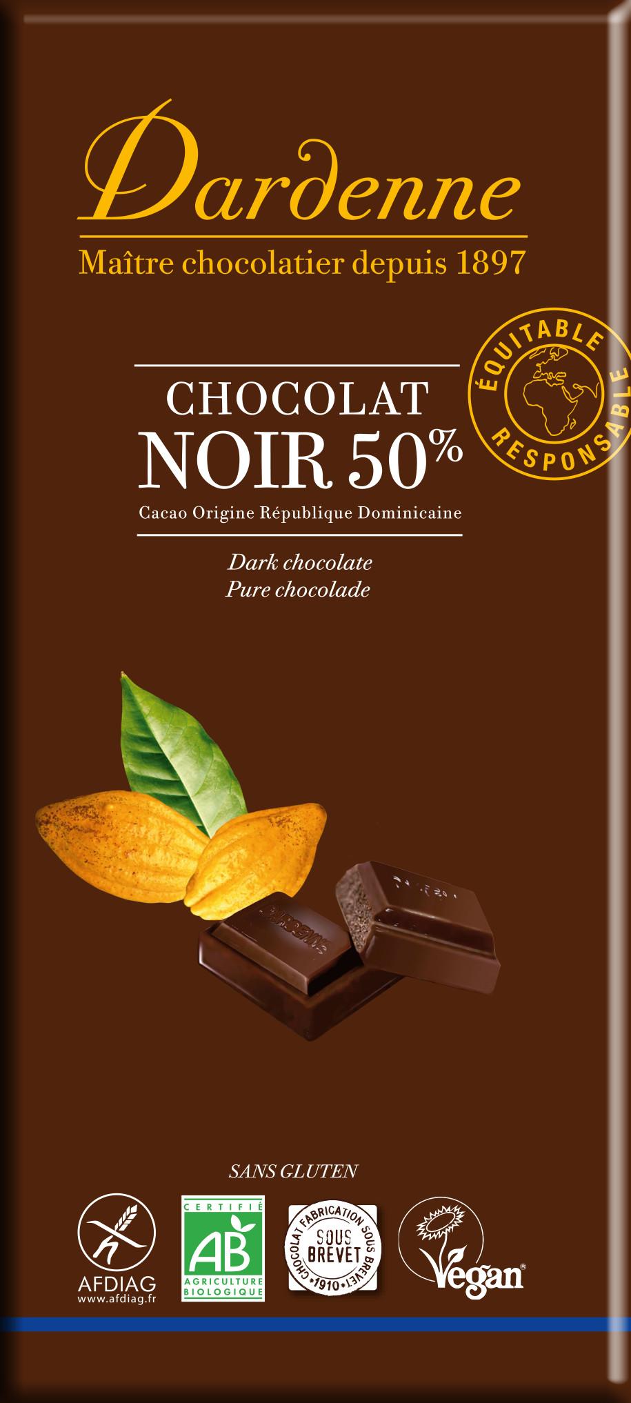 Image DARDENNE chocolat noir au sucre de canne 50% cacao