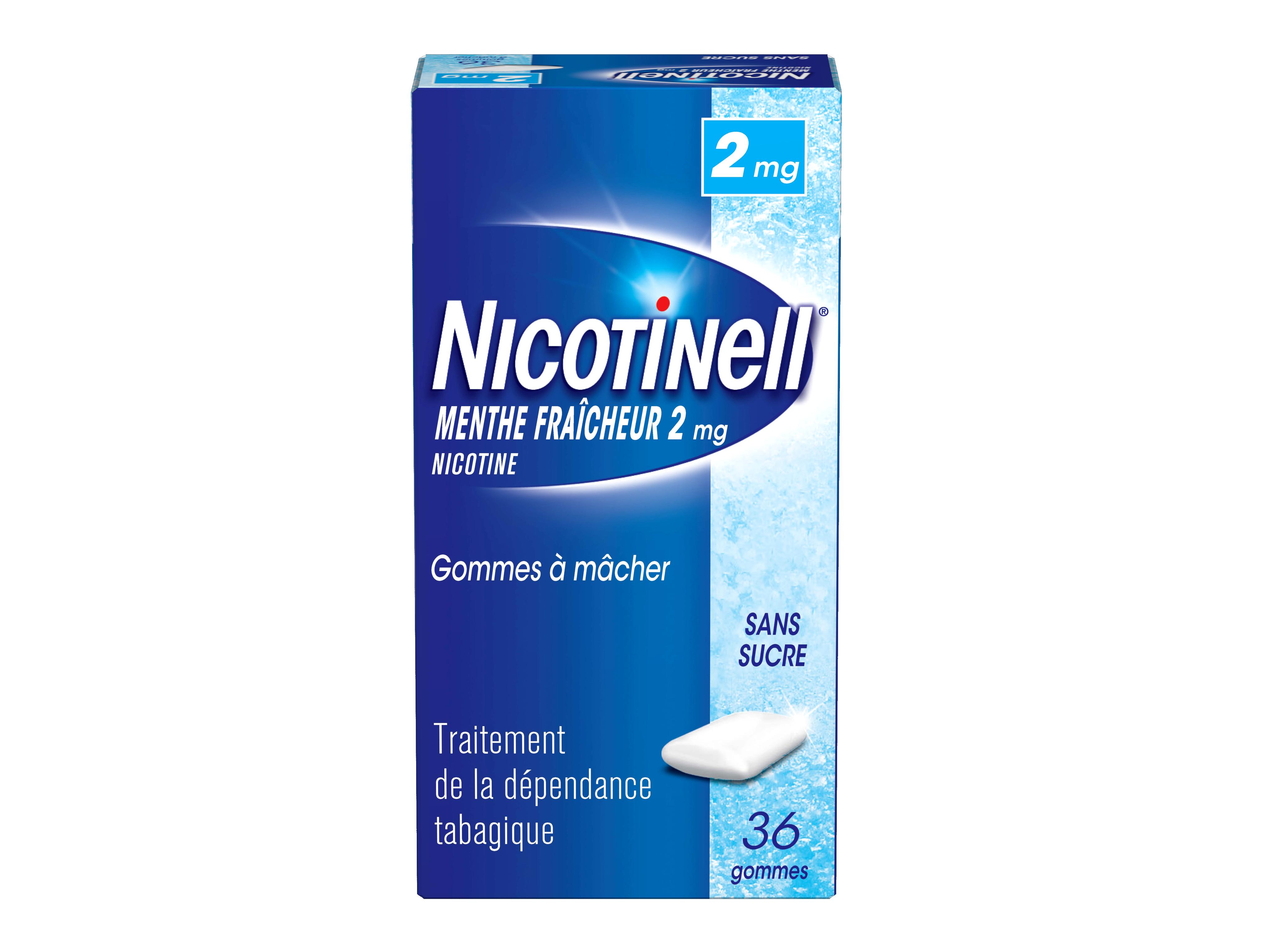 Image NICOTINELL 2 mg Gom à mâcher médic menthe fraîcheur sans sucre Plq/36