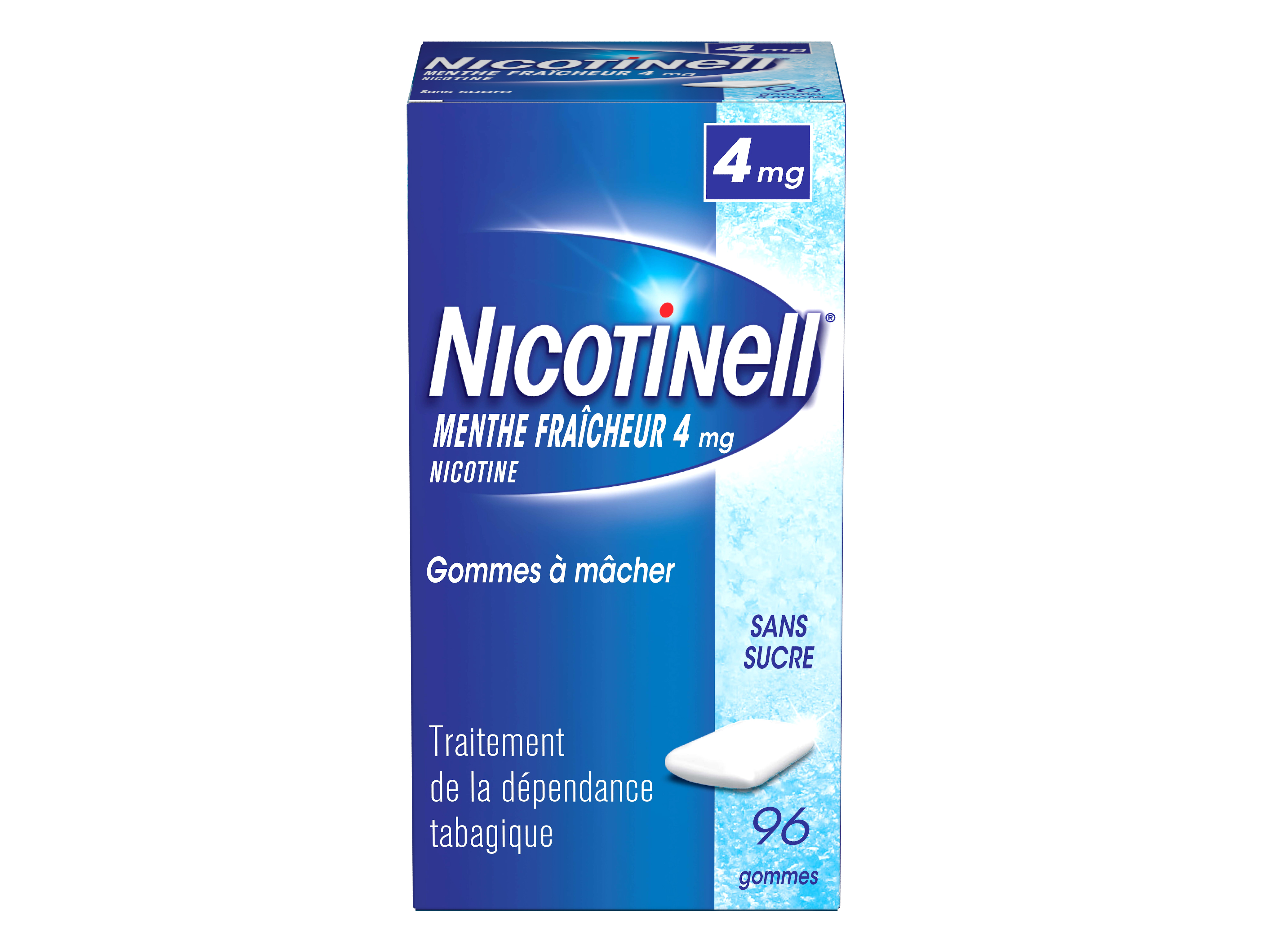 Image NICOTINELL 4 mg Gom à mâcher médic menthe fraicheur sans sucre 8Plq/12