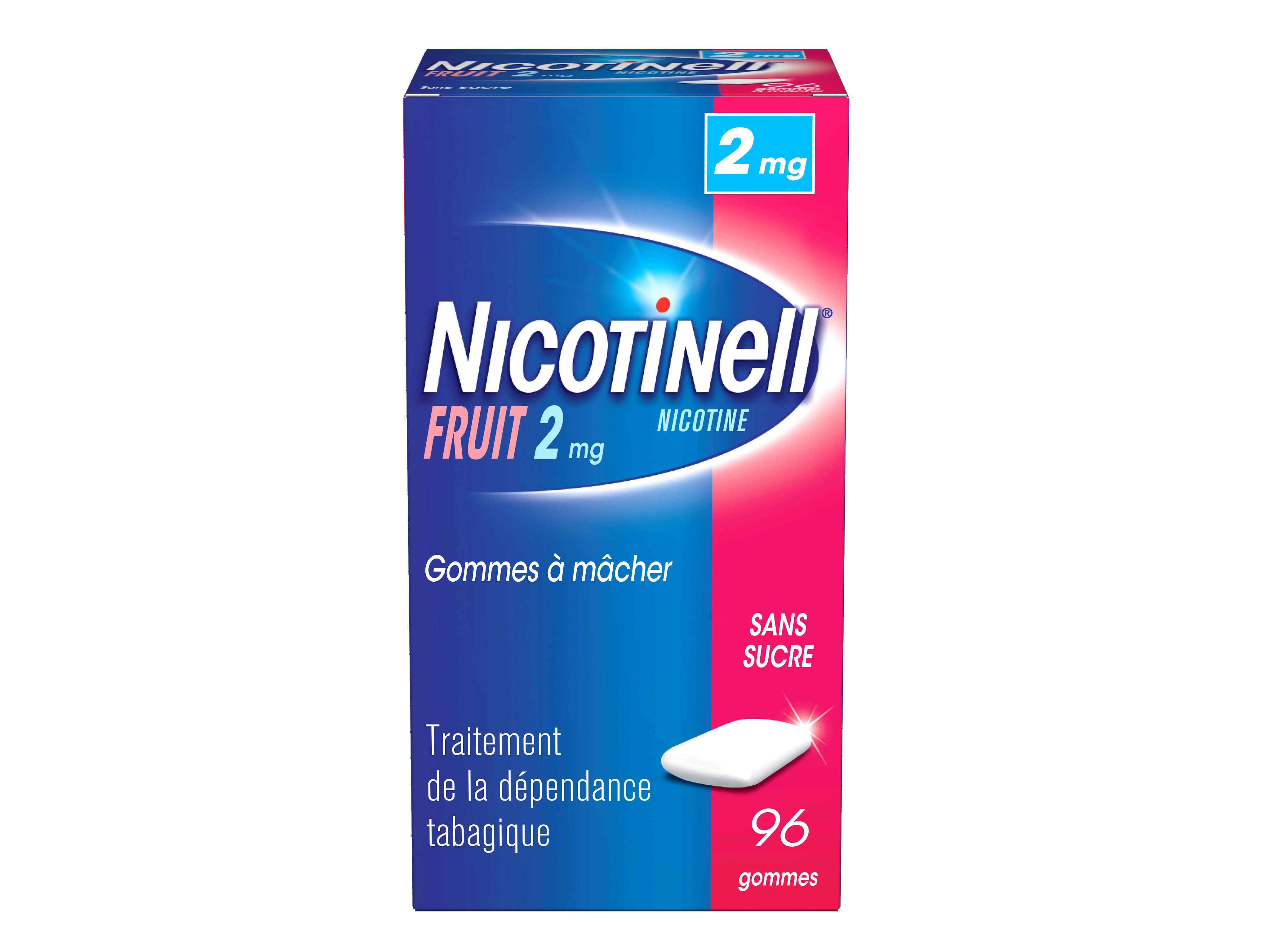 Image NICOTINELL 2 mg Gom à mâcher médic sans sucre fruit Plaq/96gom
