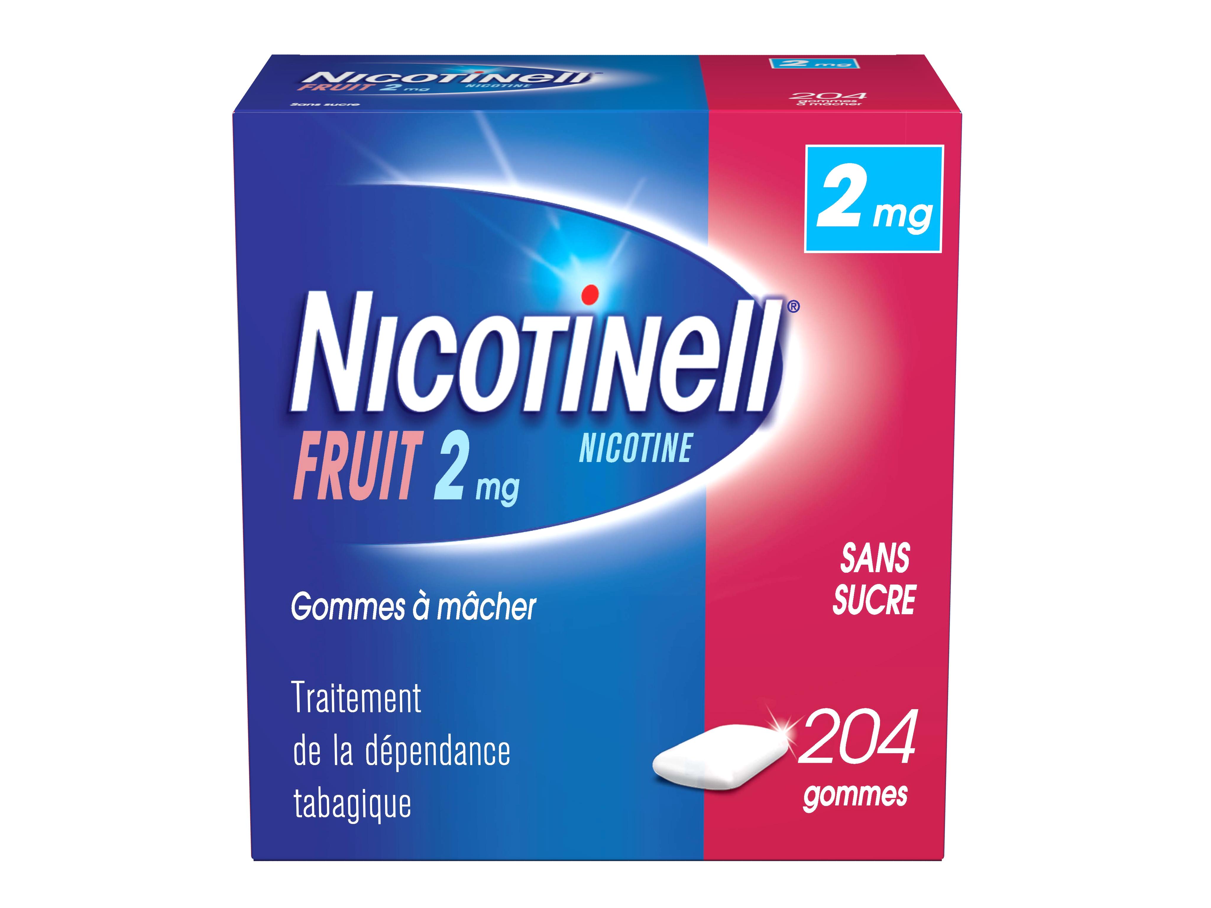 Image NICOTINELL 2 mg Gom à mâcher médic sans sucre fruit Plq/204