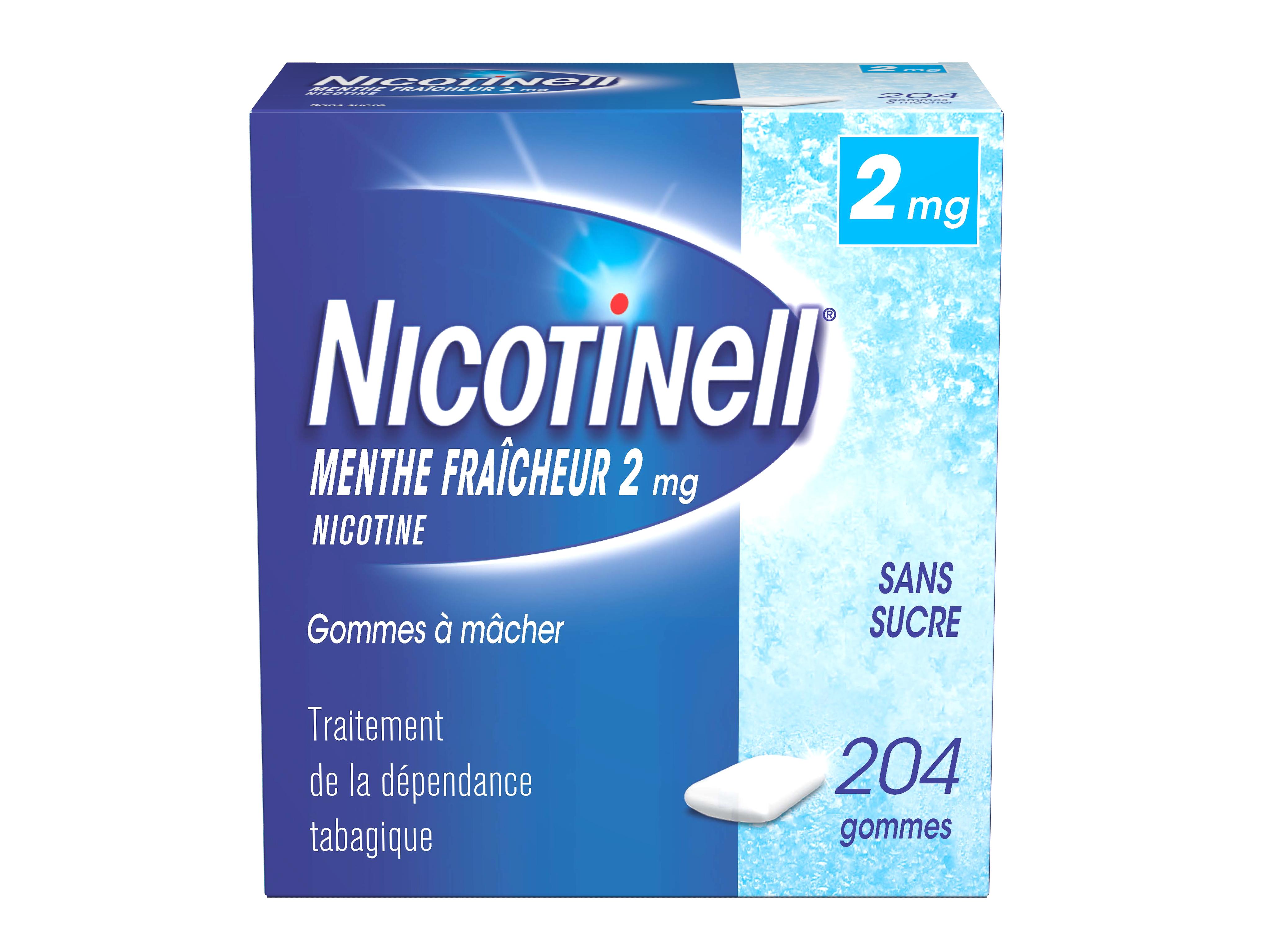 Image NICOTINELL 2 mg Gom à mâcher médic menthe fraîcheur sans sucre Plq/204