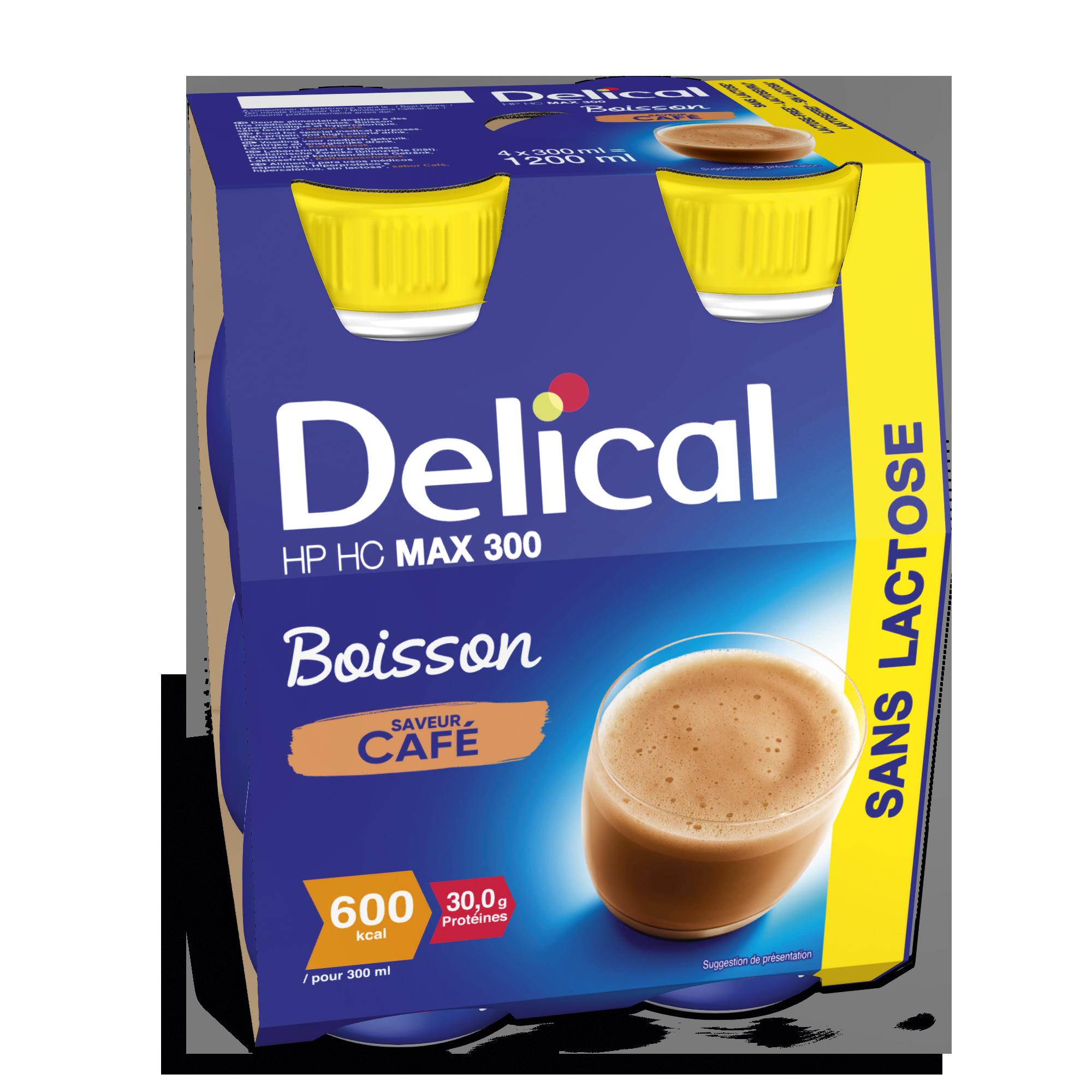 Image DELICAL MAX 300 SANS LACTOSE Nutriment café 4Bouteilles/300ml