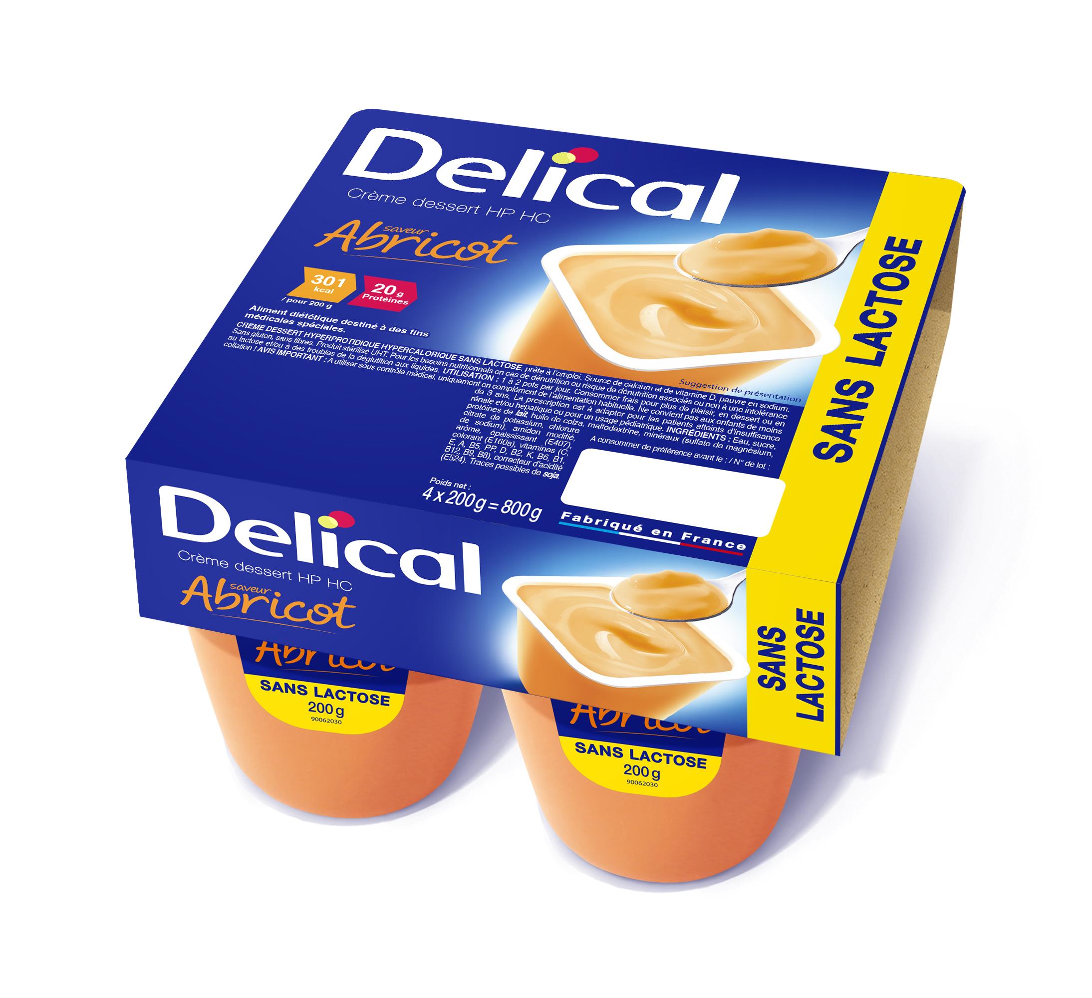 Image DELICAL CREME DESSERT SANS LACTOSE Nutriment abricot 4Pots/200g