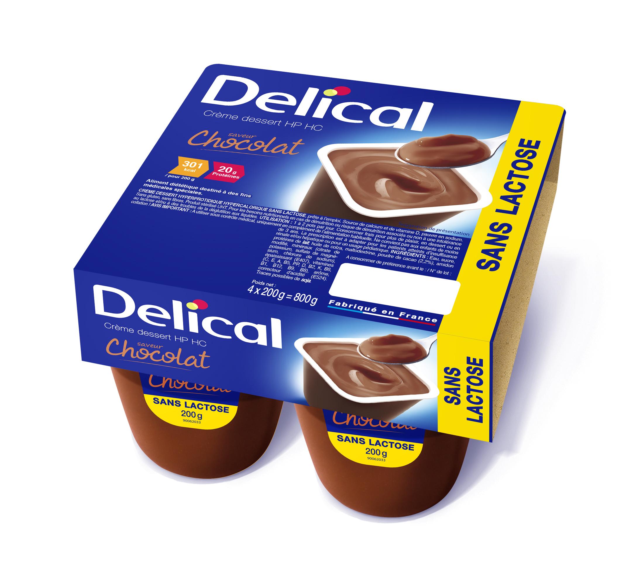 VIDAL - DELICAL CREME DESSERT SANS LACTOSE nutriment chocolat