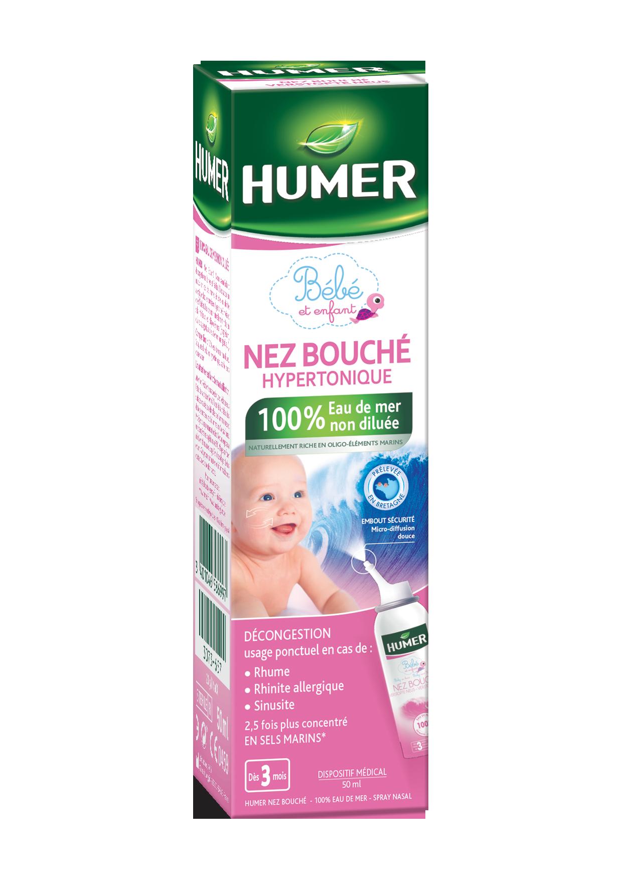 Image HUMER 050 NEZ BOUCHÉ S nas Eau de mer enfant nourrisson Spray/50ml