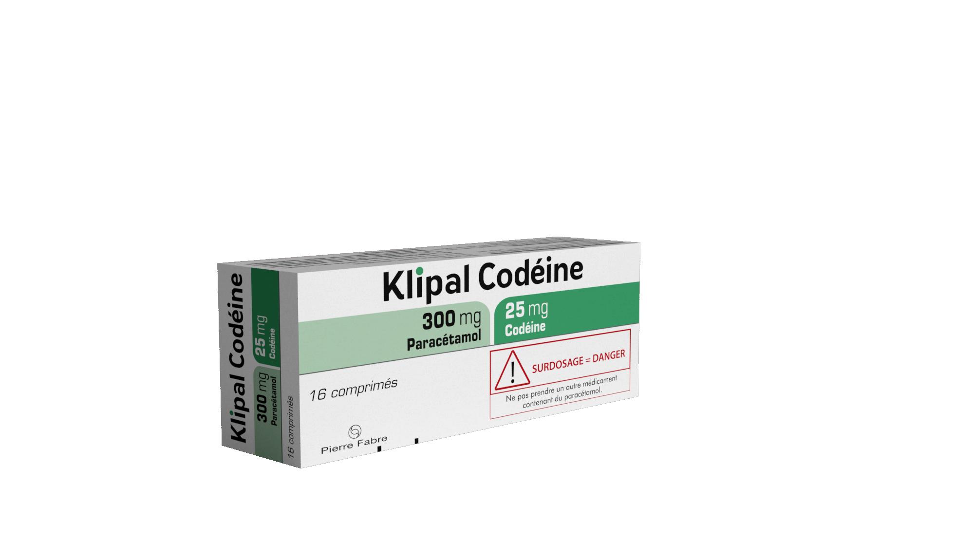 Image KLIPAL CODEINE 300 mg/25 mg Cpr Plq/16