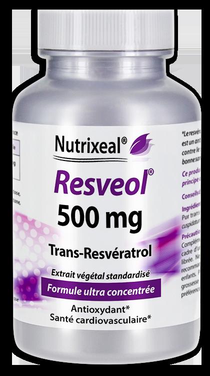Image NUTRIXEAL RESVEOL Trans-Resvératrol 500 mg Gél Fl/30